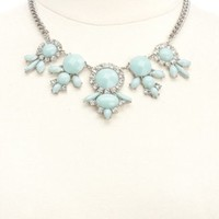 FACETED GEM & RHINESTONE BIB NECKLACE