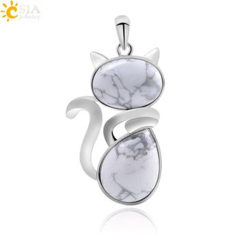 CSJA Cute Cat Pendants Suspension for Girl Chakra Natural Stone Pendant Green Aventurine Pink Crystal Cat Wisiorek Jewelry F072
