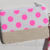 Neon Pink polka dot wristlet accented with Natural linen / clutch / zipper pouch / coin purse