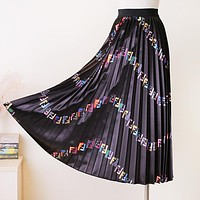 Fendi High Quality New Fashion Multicolor More Letter Pleated Skirt Women Black