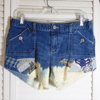 Patched Jean Shorts Bleached Lace Material Army Patch Upcycle Grunge Hippie Clothes Size 11 Patchwork Denim Cotton Spandex Frayed Distressed