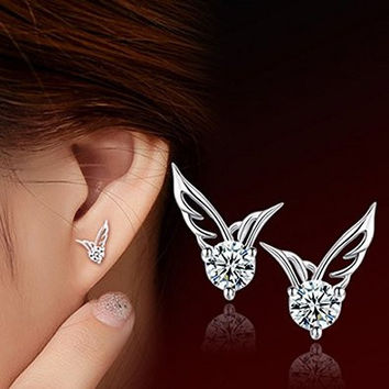 "HOT OFFER 925 STERLING SILVER JEWELRY ""ANGEL WINGS CRYSTAL EAR STUD EARRINGS"