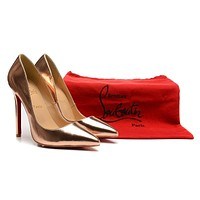 Christian Louboutin Champagne Patent Leather High Heels 120mm