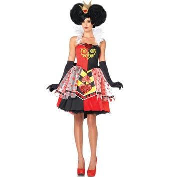 Halloween Adult Womens Poker Red Queen of Hearts Princess Costume Fancy Game Dress Alice In Wonderland Carnival Uniform