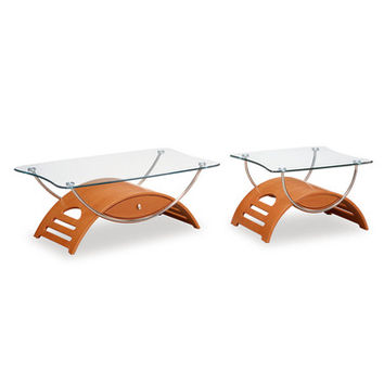 Global Furniture USA T63 Meryl 2 Piece Clear Glass Coffee Table Set in Cherry w/ Chrome Legs