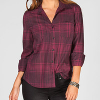 Full Tilt Lace Back Womens Shirt Burgundy  In Sizes