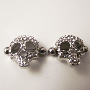 2 Pieces 14G 1.6mm Punk Rock Full Crystal from Everything Skull 1610bb88f947