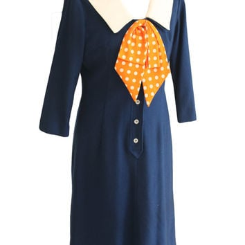 "Vintage 1960s Navy & Orange Wool Long Sleeve Dress w/ Neck Tie | 50s Women's Size Medium/Large, 32"" Waist 