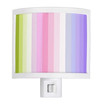 Pale Rainbow Stripes Bath Decor Night Light
