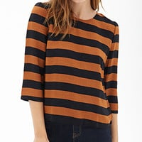 FOREVER 21 Boxy Woven Striped Top