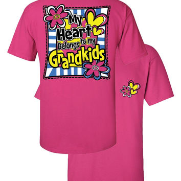 Southern Couture My Heart Belongs to My Grandkids Grandma Nana Mimi Girlie Bright T Shirt
