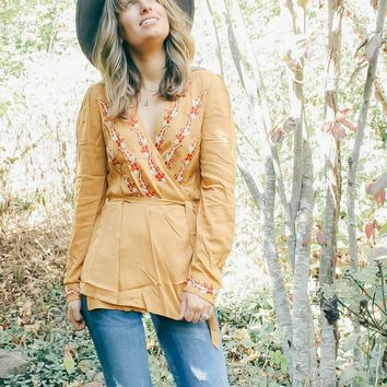 """""""Morgan"""" Embroidered Wrap Blouse - Mustard"""
