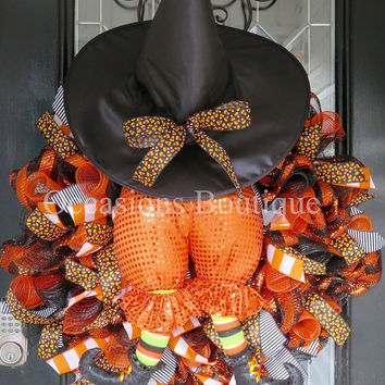 HUGE! Halloween Wreath, Witch Wreath, Halloween Decoration, Fall Wreath, Front door wreath, Door Hanger, Deco Mesh Wreath