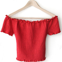 Smocked Off Shoulder Crop Top - Red