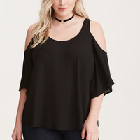 Georgette Cold Shoulder Top