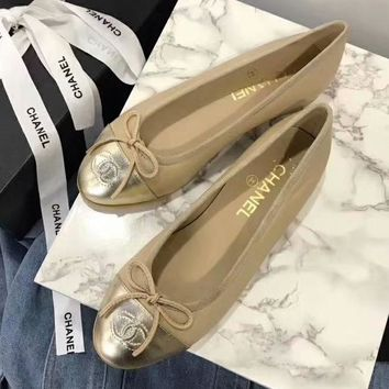 Chanel Slip-On Women Fashion Bow Flats Shoes