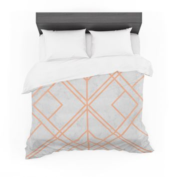 "Tobe Fonseca ""Art Deco Lines Pattern"" Pink Gray Geometric Modern Illustration Mixed Media Featherweight Duvet Cover"