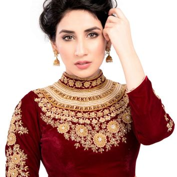 Maharana Full Sleeve Maroon Velvet Saree Blouse Sari Choli Crop Top - KP-72
