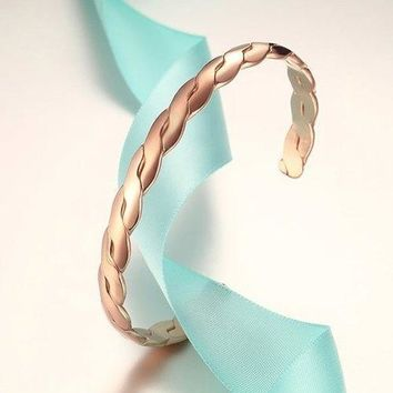 Rose Gold Hammered Twist Cuff Bracelet - Rose Gold