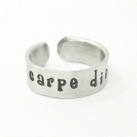 carpe diem ring - seize the day ring - Stamped message ring - Stamped ring - Motivational ring jewelry