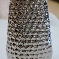 "Sai Hammered Tall Vase - Titanium Finish 13""H"