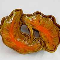 Vintage 1960s Cal. Original Double Sided Handled Serving Dish - Autumn Fall Colors