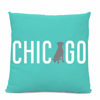 Chicago Labrador Pillow - Chicago Home Decor - Lab pillow - dog breed silhouette pillow - dog home decor - Dog Pillow - Teal Pillow