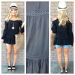 Black Off Shoulder Cover Up Tunic