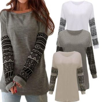 Boho Aztec Womens Long Sleeve Loose Pullover