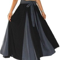 Lotustraders Skirt Long Insert Contrast Sash Black One Size F199