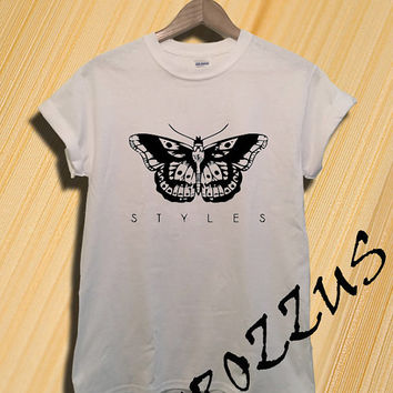 Harry Styles Tattoo Shirt One Direction T-shirt Tee Shirt Gray and White Unisex Size