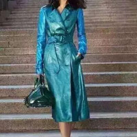 high end 2016 women autumn winter fashion British style runway double breasted blue gradient genuine leather trench coat 8634