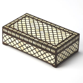 Hors D'Oeuvres Basan Wood & Bone Inlay Storage Box