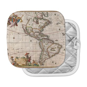 """Bruce Stanfield """"Vintage Map Of The America's """" Brown Green Pot Holder"""