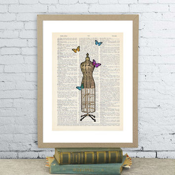 Couture mannequin with butterflies. Vintage dictionary paper illustration art print.  Wall hanging decor 8X10.5.Victorian