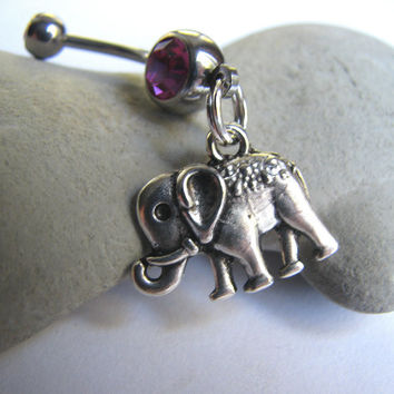 Circus Elephant Belly Button Ring Dangle Navel Piercing Belly Button Jewelry
