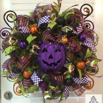 Halloween Purple Pumpkin Deco Mesh Wreath