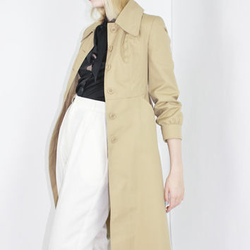 trench coat vtg 70s camel midi coat duster coat long coat beige coat like new petite coat swing coat extra small xs
