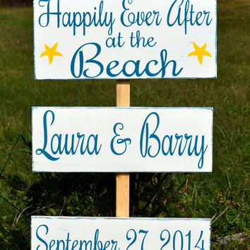 Large Beach Wedding Personalized Welcome Happily Ever After Directional Sign