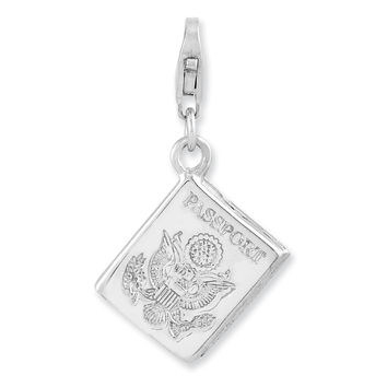 Sterling Silver Rhodium-plated 3-D Passport w/Lobster Clasp Charm QCC959