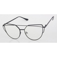 Womens EXAGGERATED VINTAGE RETRO Style Clear Lens EYE GLASSES Unique Black Frame