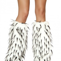 White-Black Furry Leg Warmer Rave Accessories