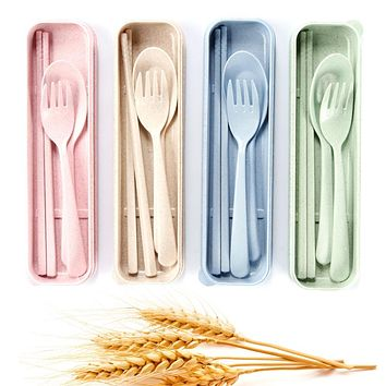 1 Set Portable Eco-Friendly Scented Wheat Straw Cutlery Dinnerware Sets Camping Picnic Travel Cutlery Set Gift Clearance Sale