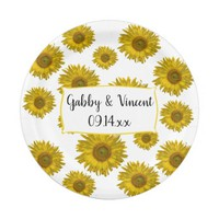 Yellow Sunflowers Wedding Paper Plate