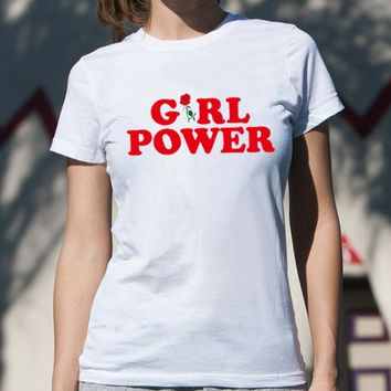 """Summer """"GIRL POWER"""" Letter Print Short Sleeve T-Shirt Casual Loose Top White"""