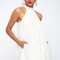 Love of Mine White Halter Swing Dress