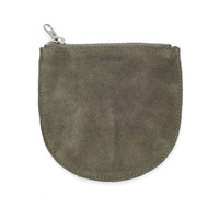 Small Leather Pouch: Olive Suede