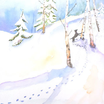 Snowy Winter Landscape, Dog in Snow, Original Watercolor, 12x16, 11x14, Barking up the tree, Dog chasing, hunting