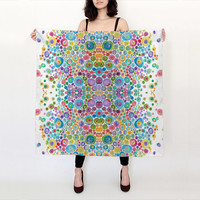 Art Scarf, Inner Circle   ~ 100% silk scarf - accessories, colorful happy print  scarves, shawl, cover-up