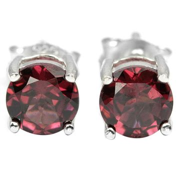 1.9TCW Round Cut Red Rhodolite Garnet Stud Earrings